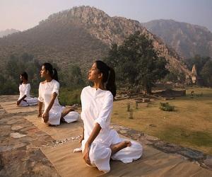 Women Practicing Yoga at Bandhavgarh